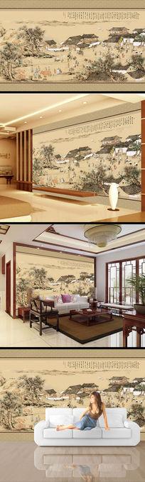 中国风水墨画国画电视背景墙