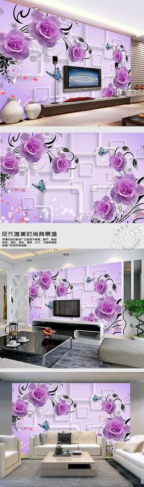 紫色玫瑰飘落花瓣透明方框时尚背景墙