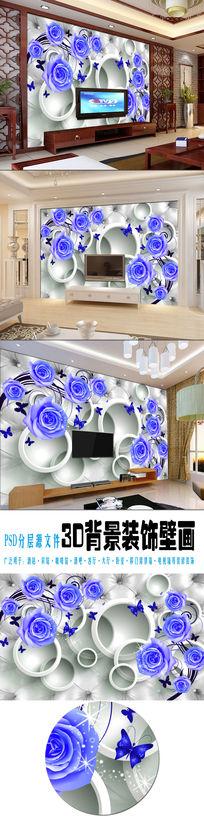3d圆圈软包卧室背景墙