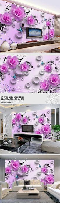 粉红玫瑰花淡雅时尚3D背景墙