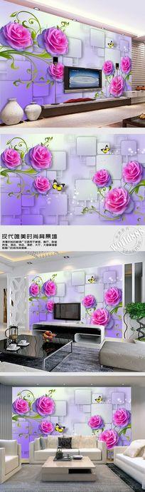 粉红玫瑰花时尚3D背景墙