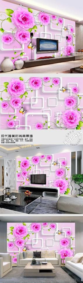 粉色牡丹透明方框时尚背景墙