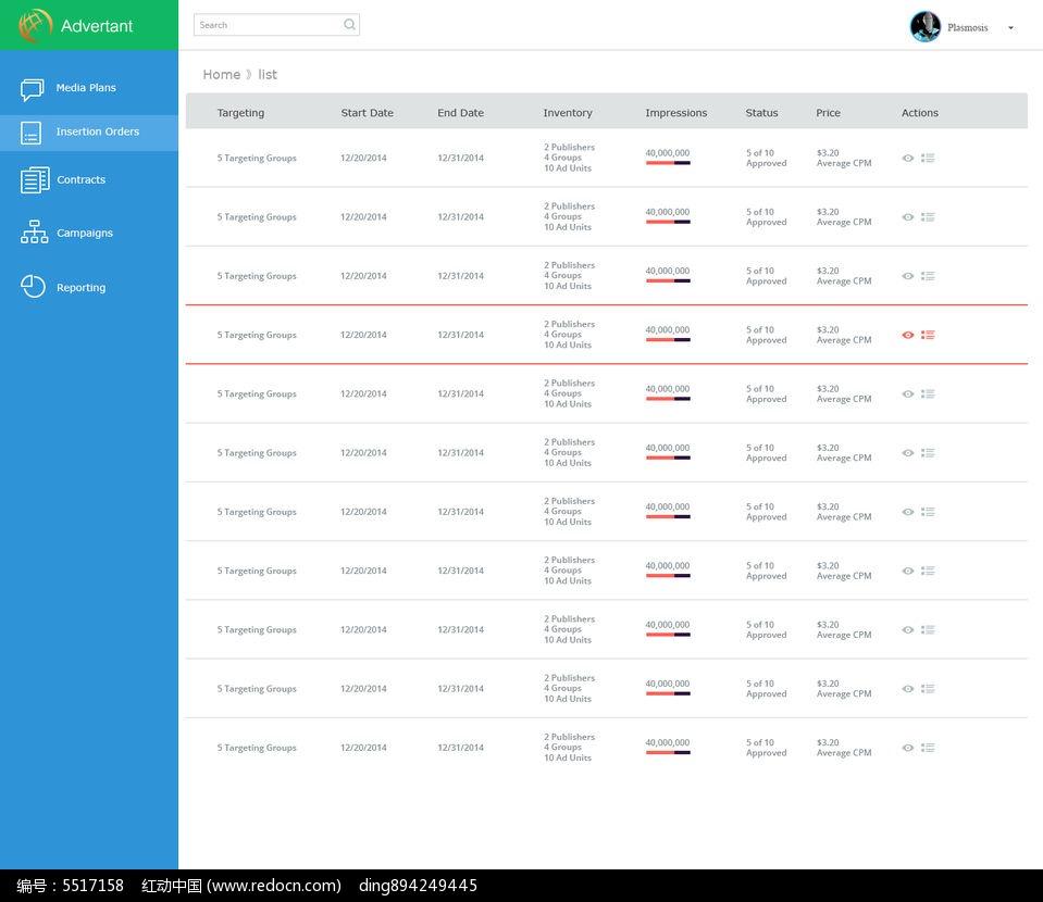 原创设计稿 网站模板/flash网页 ui设计|界面 简洁风格后台管理列表图片