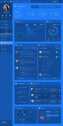 精美蓝色半透明后台界面设计 PSD