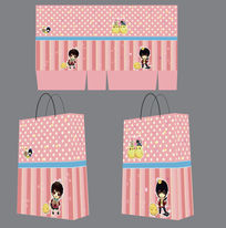 可愛粉色學生卡通風格手提袋