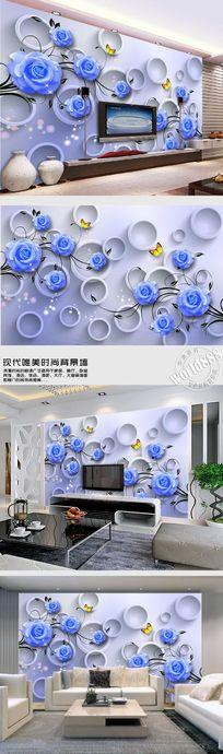 蓝色玫瑰花淡蓝时尚背景墙 PSD