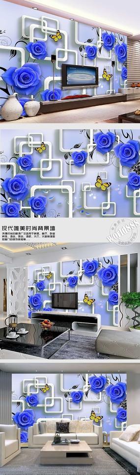 蓝色玫瑰透明方框时尚3D背景墙