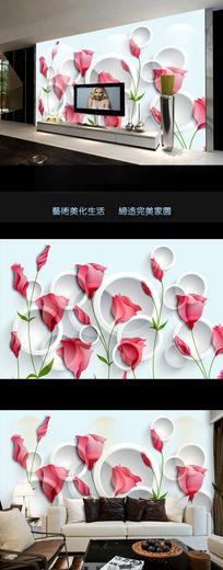 梦幻花朵时尚3D电视背景墙
