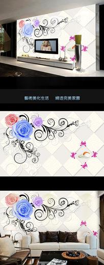梦幻玫瑰花朵现代时尚电视背景墙