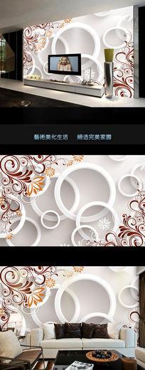 梦幻欧式花纹3d电视背景墙
