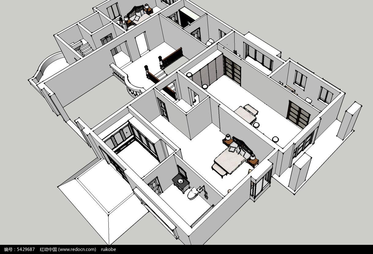 欧式大师模型别墅SU模型_3D别墅/3D素材图片草图苑南溪图片