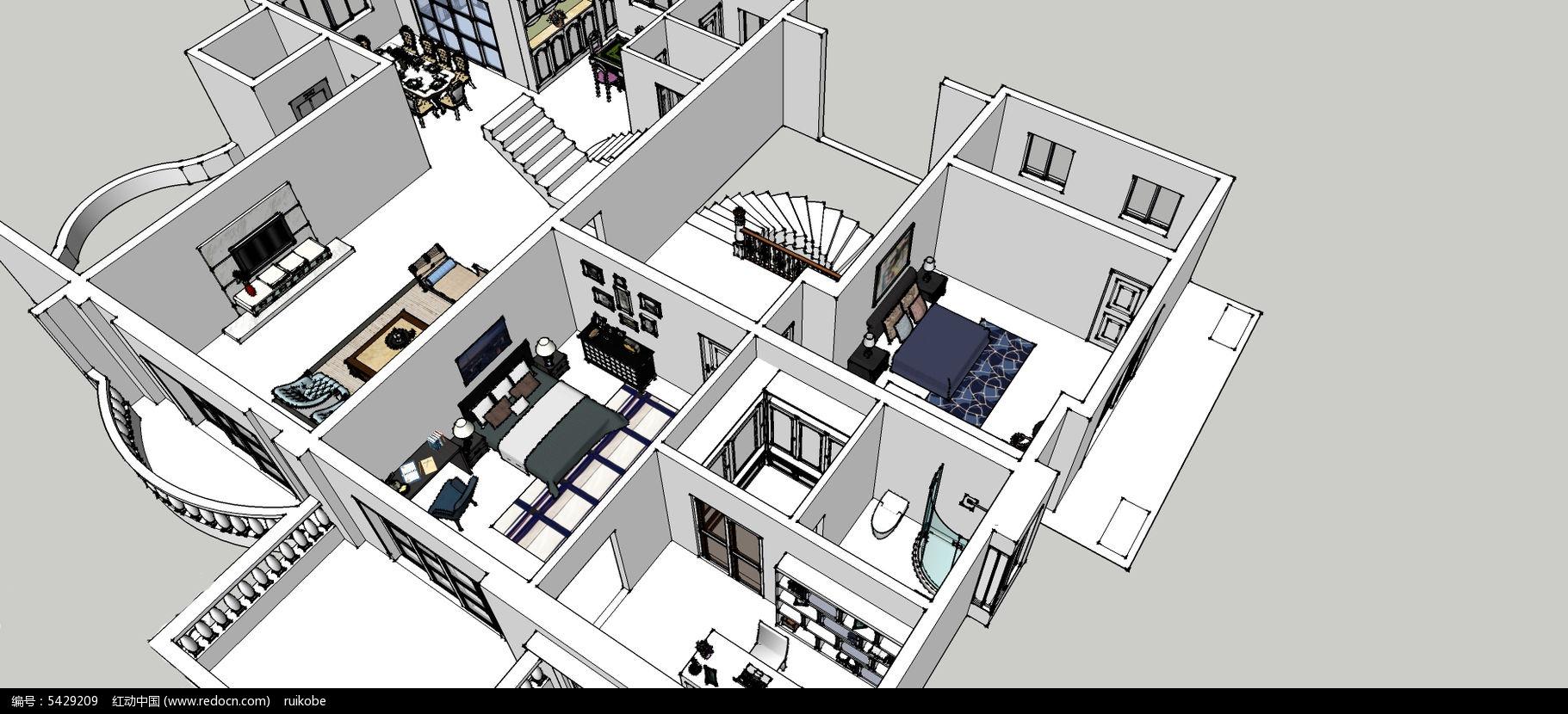 欧式别墅别墅草图SU模型扬州市大师二手图片