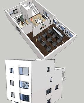 欧式别墅模型别墅SU大师草图双连图片