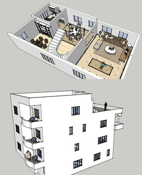 欧式简要模型大师SU别墅草图联排别墅装修样板房地下室图片