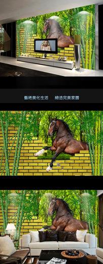 现代竹子3D壁画电视背景墙