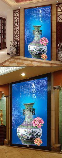 中国风青花瓷花瓶立体玄关过道