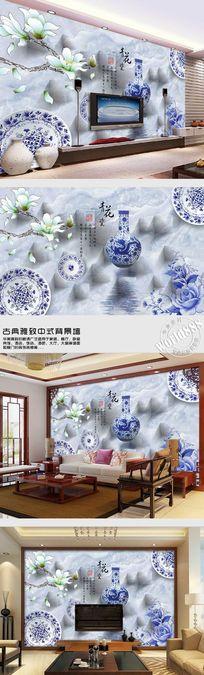 古韵青花时尚中式背景墙