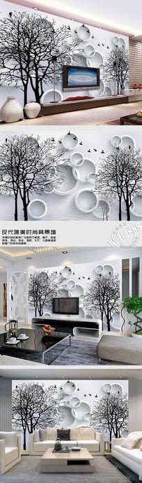 简约线条大树小鸟时尚背景墙