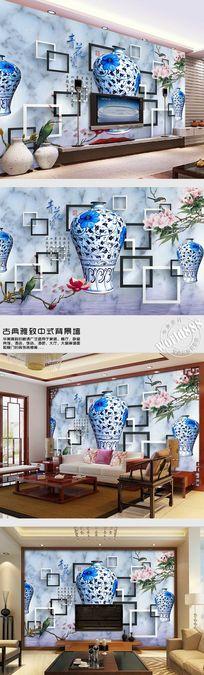 梅瓶古瓷青花古韵黑白框时尚中式背景墙