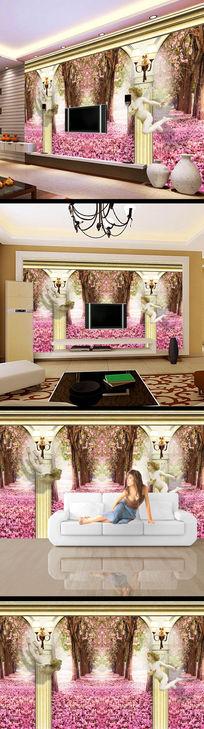 欧式紫色花儿树林3d立体背景墙 PSD