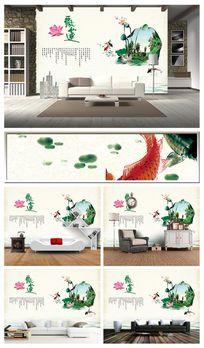 飘莲花沙发背景墙