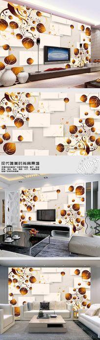 树叶图案立体方形时尚背景墙