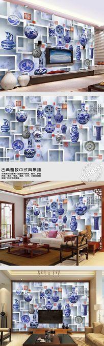 青花瓷梅瓶古印青花立体方框古典中式背景墙