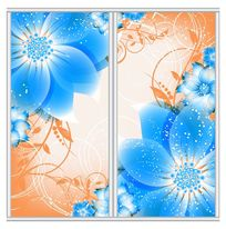 时尚蓝色花朵移门 AI