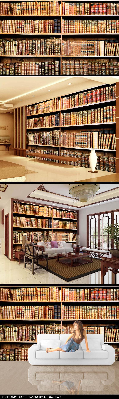 复古古典书架电视背景墙设计