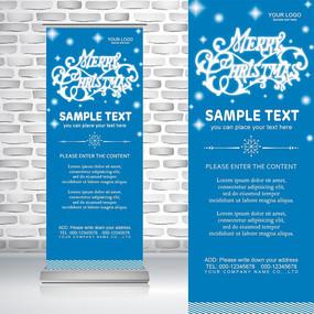 简洁浪漫蓝色雪花圣诞节易拉宝背景PSD模板