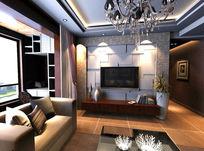 简约现代客厅设计电视背景墙