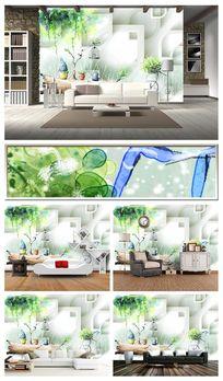 梦幻手绘花藤3D沙发背景墙