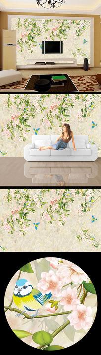 鸟语花香花纹花朵大理石背景墙