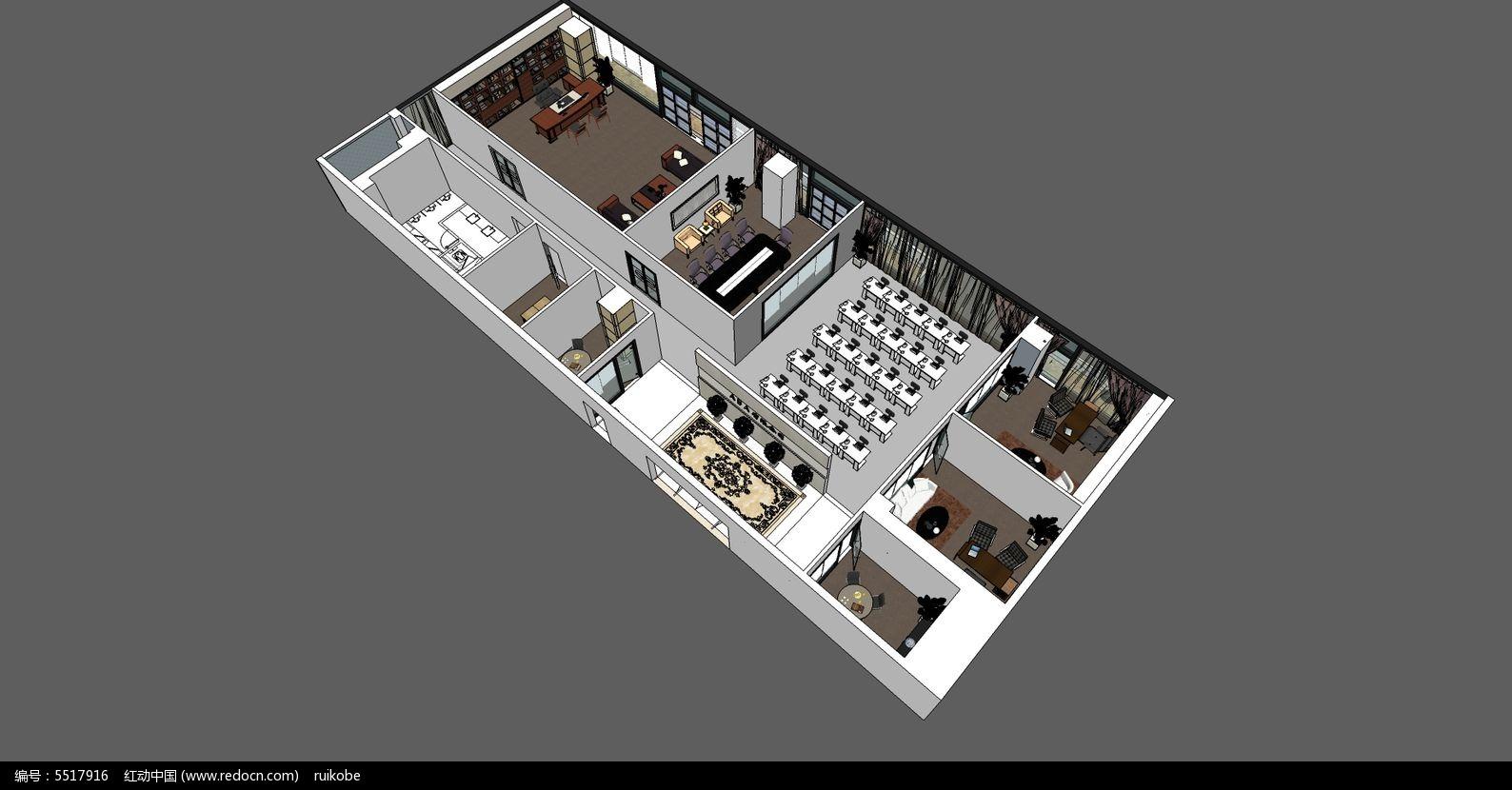 室内装修设计工装现代店面工作室