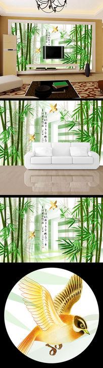 中国风3d立体竹林背景墙
