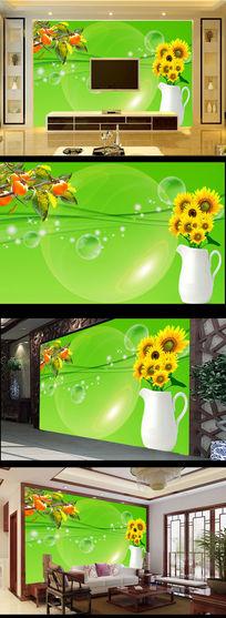 花瓶向日葵柿子绿色电视墙