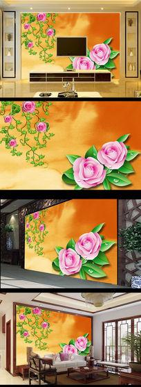 玫瑰花朵简约电视背景墙