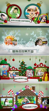 AE卡通圣诞主题折叠翻页相册模板