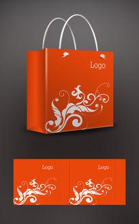 橘色花纹手提袋
