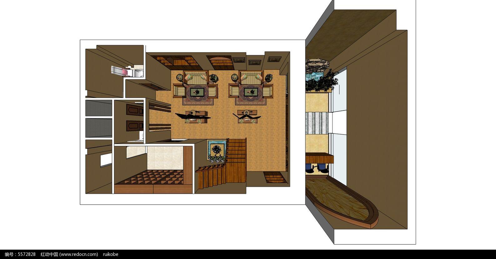 室内装修设计美容院泰式风格一楼 工装草图 设计图片