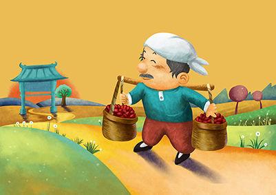 红枣手绘场景商业包装插画