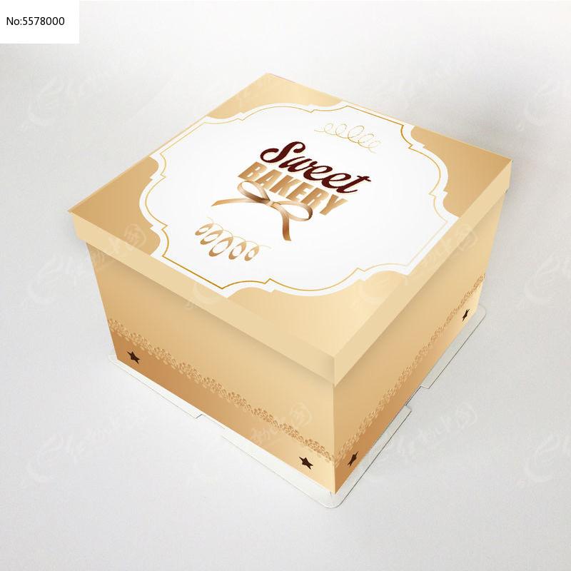 黄色方蛋糕盒插图图片