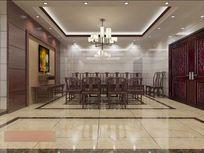 3D红色调中式大厅堂模型与效果图