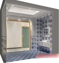 3D蓝色调简约主人房卫生间模型与效果图