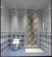 3D蓝色简约洗手间模型和效果图