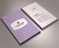 淡紫色美容院美发名片设计女士服务名片模板