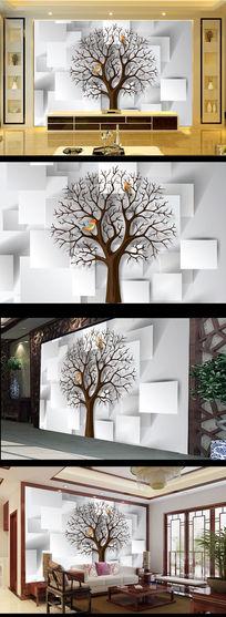 大树3D效果电视背景墙
