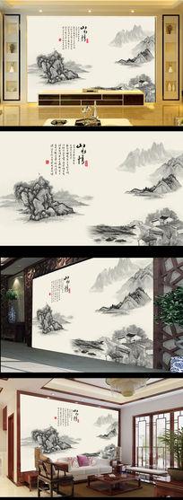 江南风景画国画风景画水墨画电视背景墙