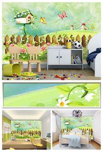手绘卡通篱笆风景儿童房背景墙