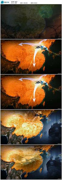 中国风地图丝绸之路视频